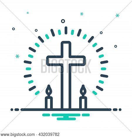 Mix Icon For Christian Pious Religious Cross Faith Mythology Belief Bible Catholic Christ Church Rel