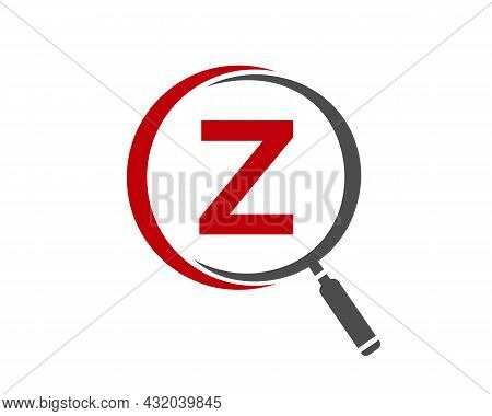 Magnifying Glass On Letter Z Concept. Search Logo. Initial Z Letter Magnifying Glass Logo Design