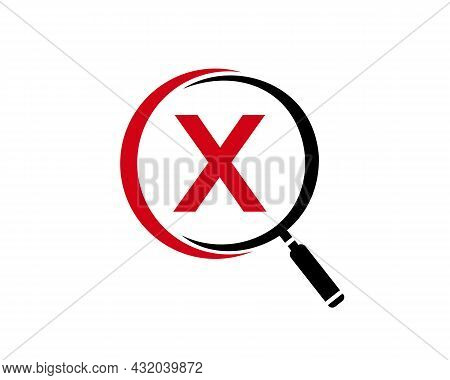 Magnifying Glass On Letter X Concept. Search Logo. Initial X Letter Magnifying Glass Logo Design