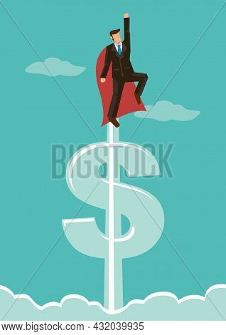 Super Businessman Flying Into The Sky. Corporate Concept Of Success And Professionalism. Flat Vector