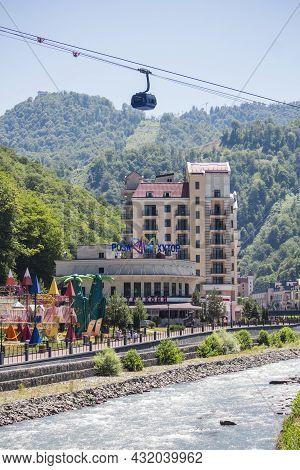 Sochi, Adler District, Krasnodar Territory, Russia July 16, 2021: Mountain Olympic Village On Rosa K