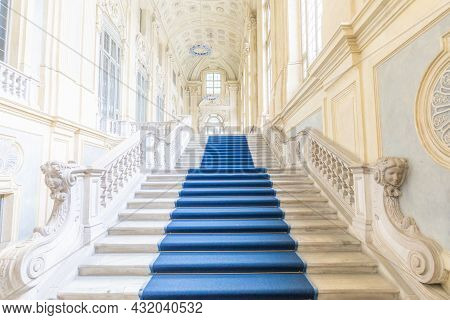 Turin, Italy - Circa June 2021: The Most Beautiful Baroque Staircase Of Europe Located In Madama Pal