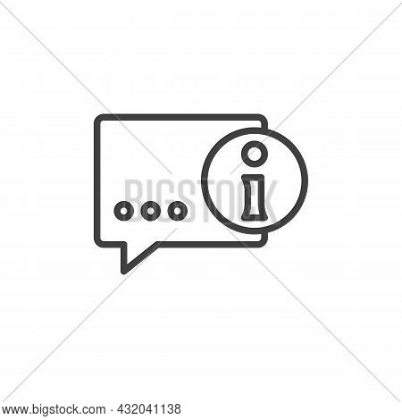 Info Help Desk Line Icon. Linear Style Sign For Mobile Concept And Web Design. Information Speech Ou
