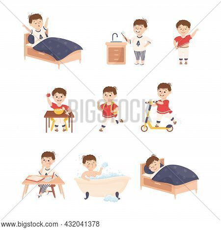 Little Boy Engaged In Daily Activity And Everyday Routine Vector Set