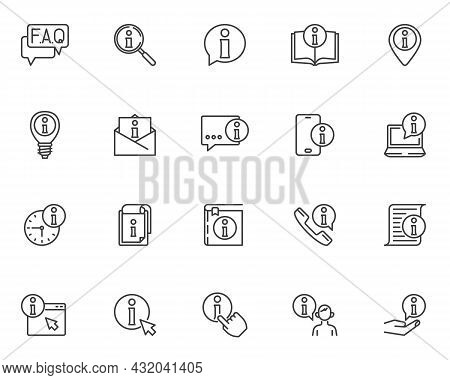Help Desk Information Line Icons Set. Faq, Helpdesk Linear Style Symbols Collection, Outline Signs P