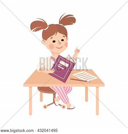 Little Girl At Table Doing Homework Engaged In Daily Activity And Everyday Routine Vector Illustrati