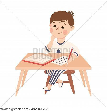 Little Boy At Table Doing Homework Engaged In Daily Activity And Everyday Routine Vector Illustratio