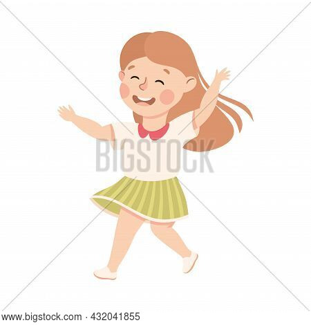 Energetic Girl Dancing Moving To Music Rythm Vector Illustration