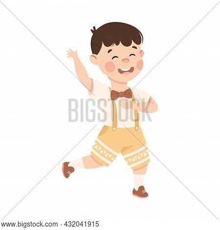 Energetic Boy With Bow Tie Dancing Moving To Music Rythm Vector Illustration