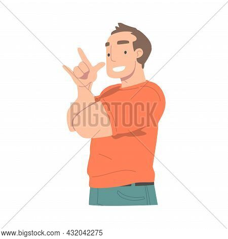 Smiling Man Character Showing Sign Of Horn As Hand Gesture Vector Illustration