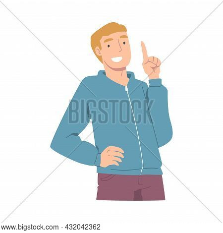 Smiling Man Character Pointing With Index Finger As Hand Gesture Vector Illustration
