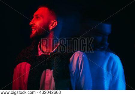 Emotional Swing. Bipolar Man. Depressed Mood. Psychology Pressure. Dual Happy Guy And Frustrated Sha
