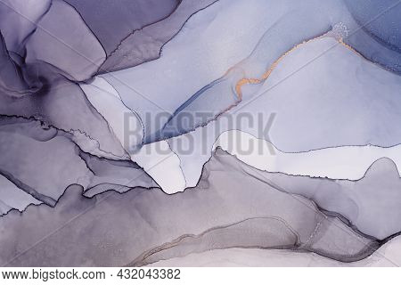 Abstract Hand Painted Alcohol Ink Texture. Gray And Blue Colors. Marble Imitation. Creative Backgrou