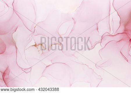 Abstract Hand Painted Alcohol Ink Texture. Light Pink Color Creative Background For Your Design