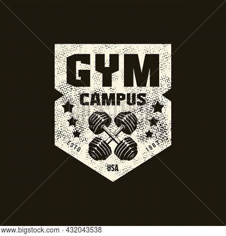 Gym Club Sport Emblem With Retro Texture. Graphic Design For T-shirt. White Print On Black Backgroun
