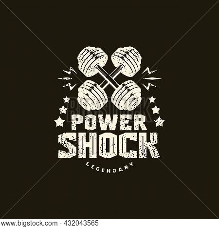 Power Shock Training Sport Emblem With Retro Texture. Graphic Design For T-shirt. White Print On Bla