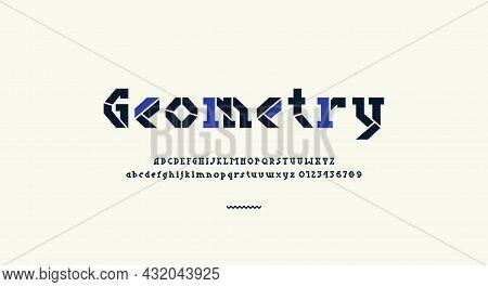 Stencil-plate Serif Letters Font For Logo And Headline Design. Vector Illustration
