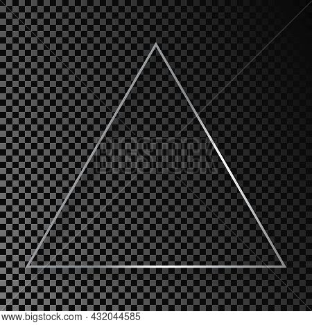 Silver Glowing Triangle Frame With Shadow Isolated On Dark Transparent Background. Shiny Frame With