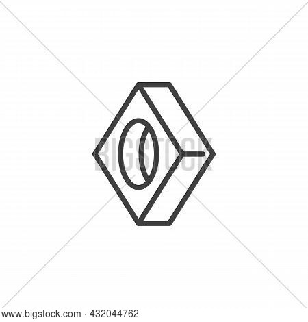 Square Washer, Fastener Line Icon. Linear Style Sign For Mobile Concept And Web Design. Strut Washer