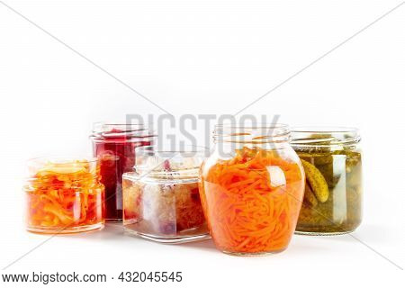 Fermented, Probiotic Food On A White Background. Canned Vegetables. Pickled Carrot, Sauerkraut And O