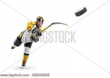 Hockey Kick. Hockey Player In The Helmet And Gloves On White Background. Sports Emotions. Action Sho
