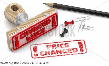 Price Changed. The Stamp And An Imprint. Wooden Stamp And Red Imprint Price Changed On White Surface