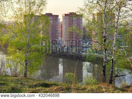 Birches With Fresh Spring Foliage On The High Bank Of A Small River, High Multi-storey Red Houses In