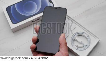 Hong Kong 11 January 2021: Apple iphone 12