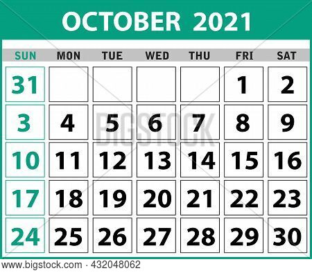 2021 October Calendar Layout Template Isolated In White Background, Week Starts Sunday. Pocket Calen