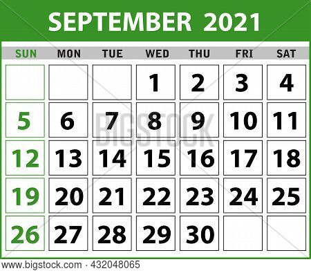 2021 September Calendar Layout Template Isolated In White Background, Week Starts Sunday. Pocket Cal