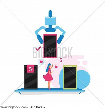 Choosing Best Mobile Phone Flat Concept Vector Illustration. Purchasing New Smartphone Isolated 2d C