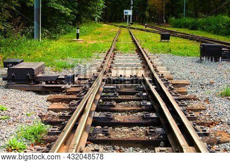 Detailed View Of Narrow Gauge Railway Arrow. Kyiv Children's Railway In Syretsky Park. Important Ele