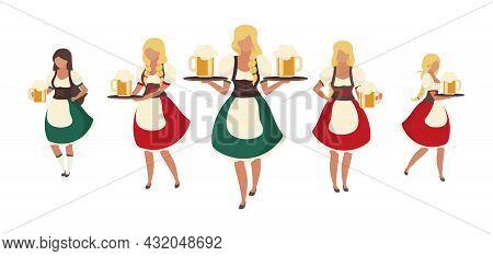 Female Oktoberfest Beer Servers Semi Flat Color Vector Characters. Full Body People On White. Waitre