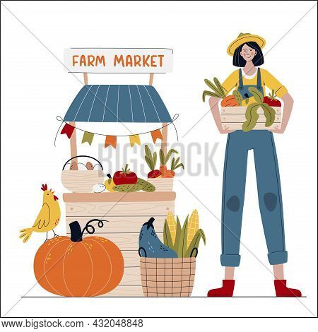 Farmer Woman In Modern Style Selling Fruits And Vegetables. Farm Market Or Eat Local Concept. Buy Fr