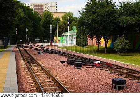 Kyiv, Ukraine-august 22, 2021:detailed View Of Railway Station Of Kyiv Children's Railway In Syretsk
