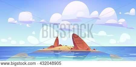 Ocean Shallow Nature Landscape Rocky Land In Clean Sea Water Under Fluffy Clouds In Sky. Rock Island