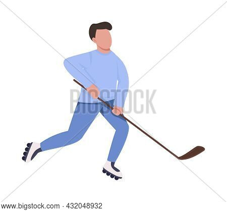 Man Playing Hockey On Roller Skates Semi Flat Color Vector Character. Full Body Person On White. Par