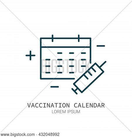 Vaccination Sheldule Calendar Line Icon Isolated Vector. Editable Stroke Symbol. Vaccines Against Vi
