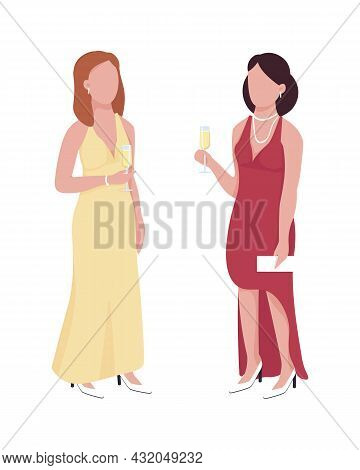 Beautiful Ladies Attending Formal Event Semi Flat Color Vector Characters. Full Body People On White