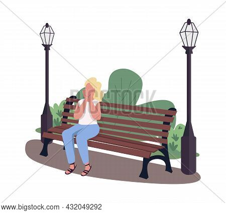 Excited Woman Visiting Park Semi Flat Color Vector Character. Full Body Person On White. Outdoor Rel