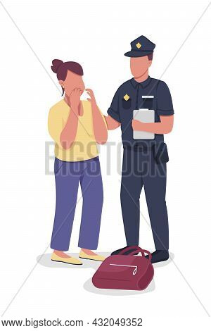 Policeman Takes Statement From Victim Semi Flat Color Vector Characters. Full Body People On White.