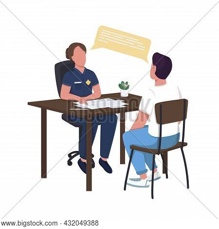 Policewoman Interrogating Suspect Semi Flat Color Vector Characters. Full Body People On White. Cond