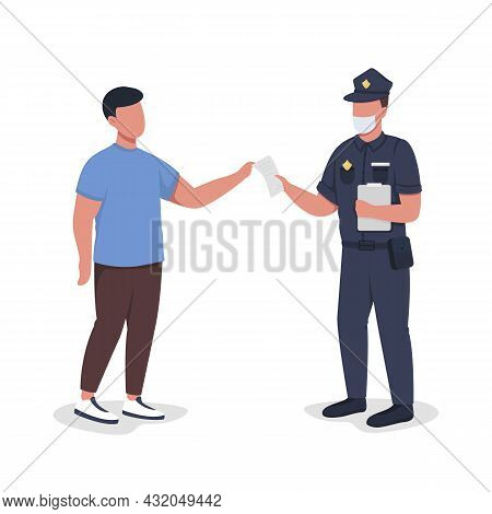 Police Officer Hands Over Paper To Witness Semi Flat Color Vector Characters. Full Body People On Wh