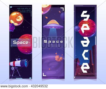 Space Bookmarks With Alien Planets, Spaceship And Telescope On Cosmos Background. Vector Vertical Ba