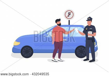 Policeman Giving Parking Fine Semi Flat Color Vector Characters. Full Body People On White. Parking