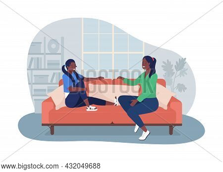 Teenager Talk With Mom 2d Vector Isolated Illustration. Leisure At Home. Daughter Speaking With Moth