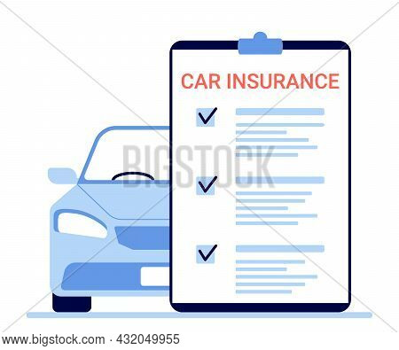 Car Insurance, Auto Claim Document. Count Property Tax Form Of Vehicle. Vector