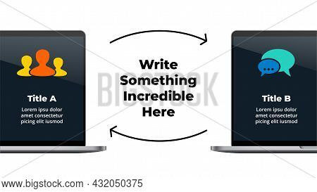 Computer Mock Up. 2 Laptops Connect Infographic Slide Template. Electronic Devices Communication Pre