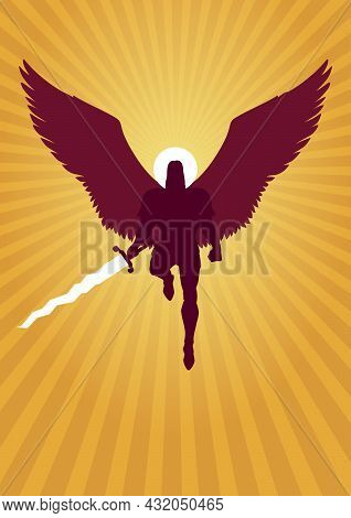 Silhouette Illustration Of Archangel Michael Flying With Sword In His Hand.