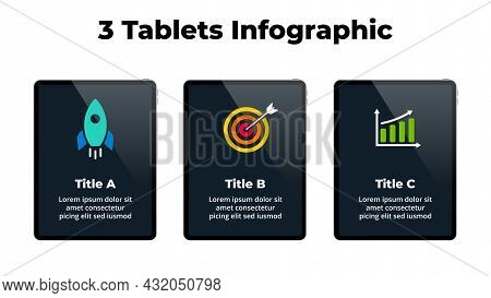 Tablet Mock Up. Infographic Slide Template. 3 Steps, Parts, Options Presentation. Business Success C